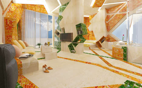 Colorfully Geometric Accommodations - The In the Painting Hotel Room by Brani & Desi is Sculptural