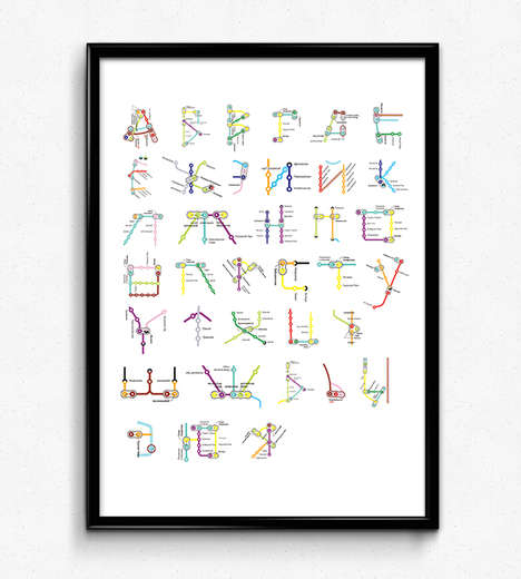 Subway Map Typography - Pauline Detavernier Used European Transit to Create Colorful Alphabets