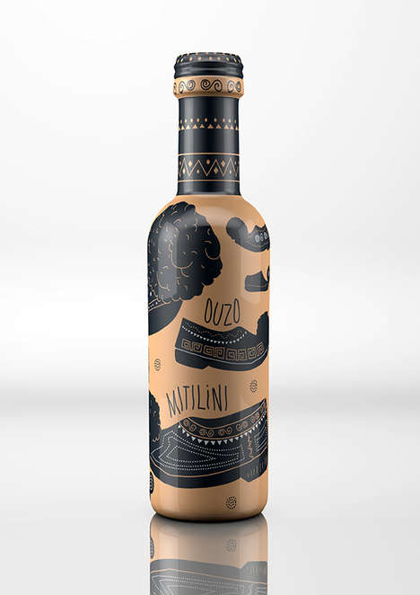 Greek Pottery Alcohol Bottles - These Concept Ouzo Mitilini Bottles Honor the History of Greece