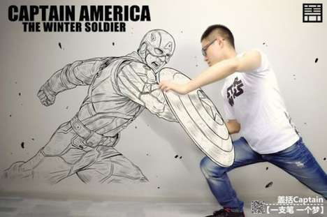 Illusionary Interactive Murals - Artist Ge Kuo Draws Himself Next to His Heroes
