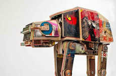 Galatic Skateboard Sculptures - Derek Keenan Designed This AT-AT Out of Reclaimed Skateboards