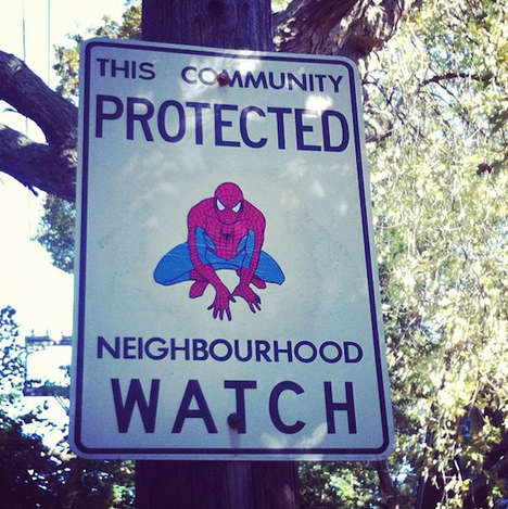 Vigilante-Inspired Vandalism - Andrew Lamb Adds Superheroes to Toronto Neighborhood Watch Signs