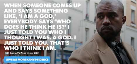 Conceited Compliment Generators - The Kanye West Self-Confidence Generator Practices Self-Love