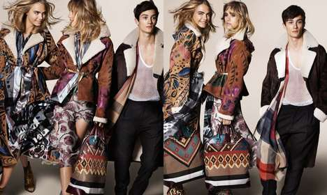 Windswept Jacket Ads - The Burberry Fall 2014 Campaign Stars Models Cara, Suki and Malaika