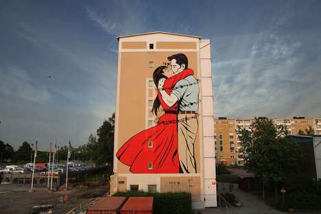 Intimate Graffiti Murals - This D*Face Mural Features a Couple Embraced in a Farewell Kiss