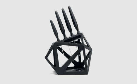 Geometric Knife Blocks - The Black Diamond Knife Block