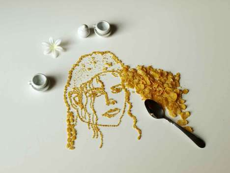 Celebrity Cereal Art - Sarah Rosado Creates Portraits of Musicians Using Corn Flakes