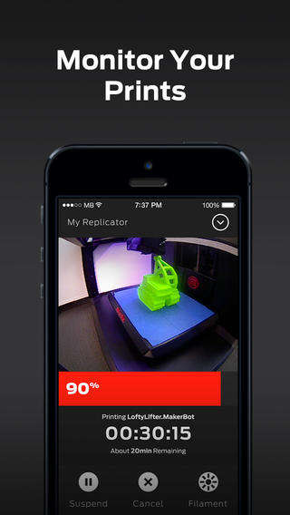 3D Print-Monitoring Apps - Makerbot