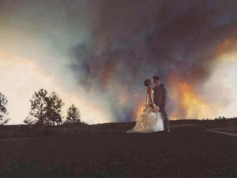 Wildfire Wedding Photography - Josh Newton Shot Cool Wedding Photos in Front of an Oregon Wildfire