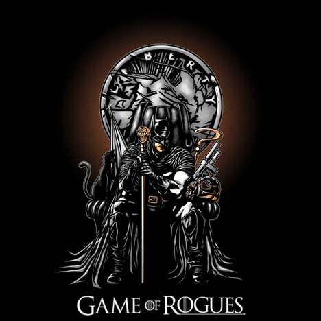 Fantasy Superhero Shirts - This Game of Rogues Tee Creatively Combines the Dark Knight with GOT