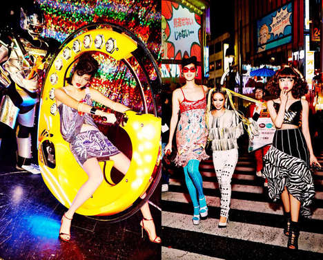 Japanese Nightlife Editorials - The Tokyo Neon Girls Image Series by Ellen von Unwerth is Vivid