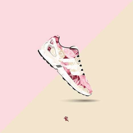 Polygonal Sneaker Illustrations - Caroll Lynn Illustrates Popular Sneakers with Geometrical Designs