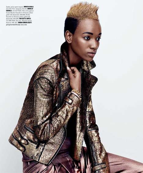 Metallic Maiden Editorials - The Dujour Magazine Summer 2014 Photoshoot Stars Herieth Paul