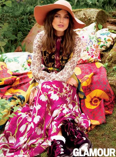 Floral Bohemian Editorials - Keira Knightley Stars in the Glamour July 2014 Cover Story Shoot