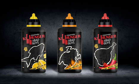 Crime Scene Condiment Bottles - The Concept Branding for Killhunger Mayo Shows Off Its Bad Side