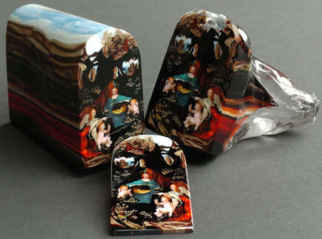 Glass Iconography Trinkets - These Religious Icons are Made from Layered Glass