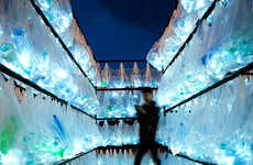 Grocery Bag Light Installations - The Labyrinth of Plastic Waste by Luzinterruptus is Eco-Friendly