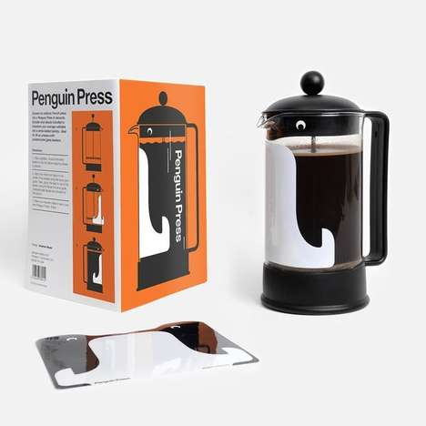 Press-Transforming Decals - The Penguin Press Sticker Turns A Coffee Maker Into a Birdlike Barista