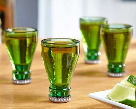 Beer Bottle Shooters - This Green Glass Shot Glass Set is Made From Recycled Beer Bottle Tops