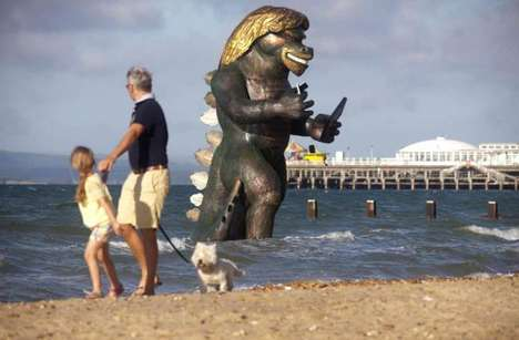 Monsterous Billionaire Sculptures - A Richard Branson Godzilla Promotes Virgin Media