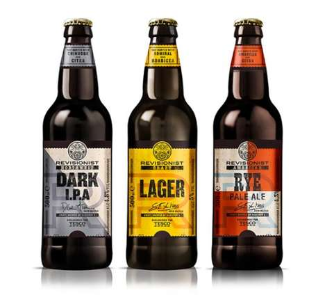 Revision-Focused Beer Branding - The Tesco Revisionist Brand Updates Current Brews