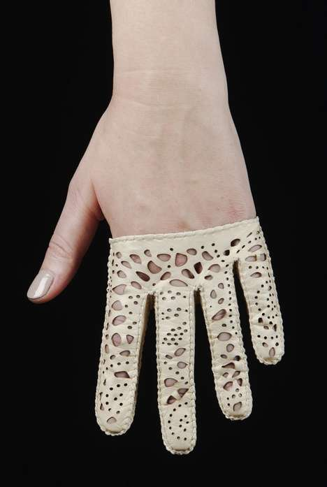 Luxe Lasercut Gloves - The Riina O Spring/Summer 2014 Collection is inspired by Leather and Lace
