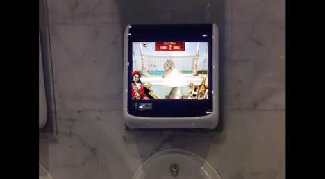 Urinal Football Games - Captain Morgan's World Cup Game Campaign Takes Place in the Washroom