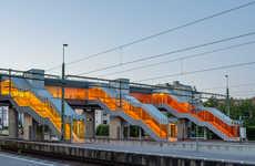 Vividly Translucent Stairways - The Skyttlebron Railway Bridge Invigorates With Color