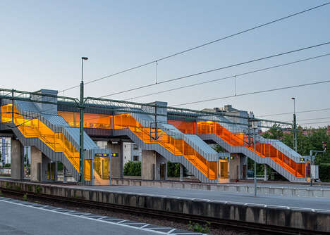 Vividly Translucent Stairways - The Skyttlebron Railway Bridge Invigorates With Color