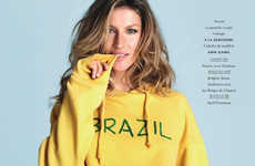 Brazilian Bombshell Editorials - Gisele Bundchen Shows her Brazil Pride for Elle France