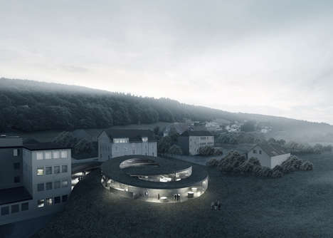 Serpentine Mountainside Museums - The Maison des Fondateurs Features a Spiraling Design