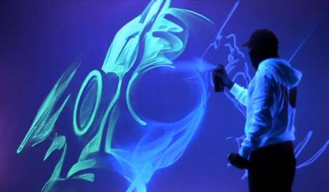 Fluorescent Street Art - Luminous by iNO Involves Spray Paint That Absorbs Ultraviolet Light