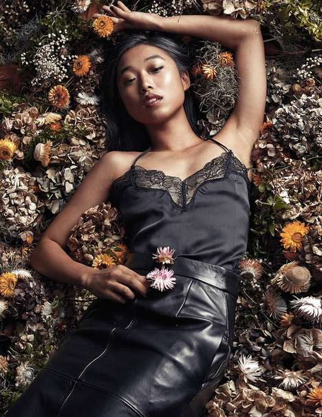 Floral Black-Styled Editorials - Margaret Zhang Stars in Elle June 2014 Spread in All-Black Pieces