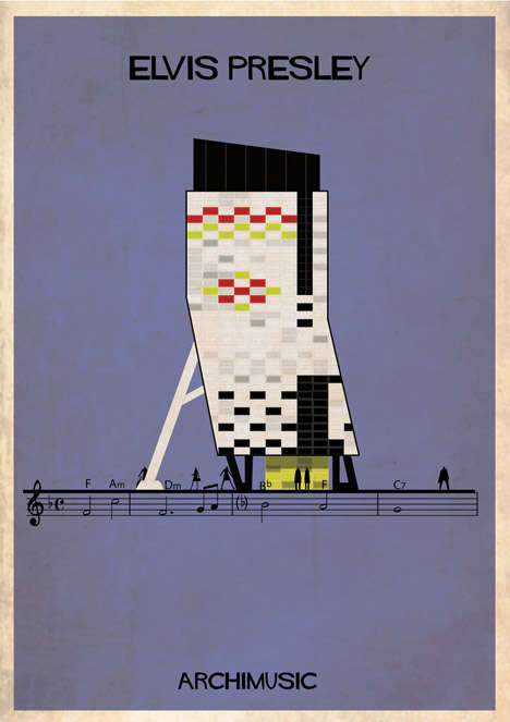 Musical Architecture Illustrations - Federico Babina's Archimusic Buildings Form a Music City