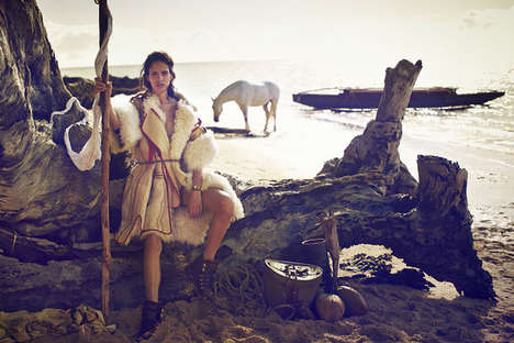 Elegant Castaway Photoshoots - Vogue Australia July 2014 Editorials Stars  Amanda Wellsh