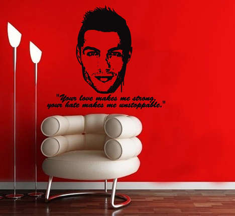 Inspirational Soccer Star Decor - This Christiano Ronaldo Wall Decal Sticker Celebrates the Athlete