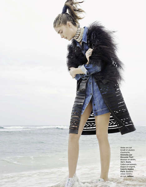 Nomadic Denim Editorials - Lindsay Lullman Channels Tribal Looks in Grazia France