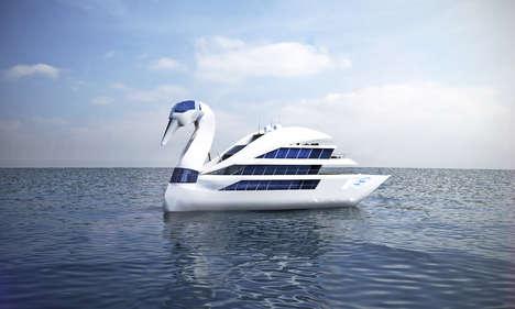 Elegant Swan Superyachts - Vasily Klyukin's White Swan Boat is a Luxury Yacht Design Concept