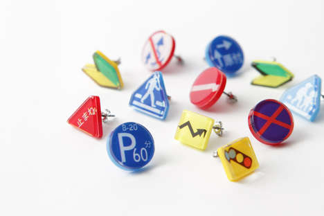 Traffic Iconography Earrings - These Stylish Road Sign Earrings Were Designed by Kyozo Kawabe