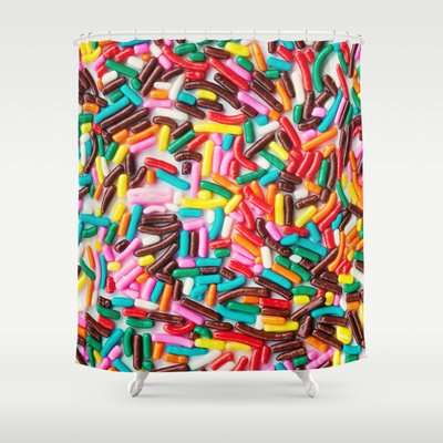 Sprinkle Shower Curtains - The Laura Ruth Extra Sprinkles Print Adds Sweetness To Your Home Decor