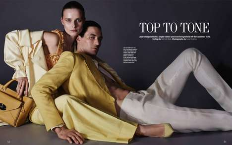 Matching Couple Editorials - The How to Spend It 'Top-to-tone' Photoshoot Stars Vasilisa and Owen