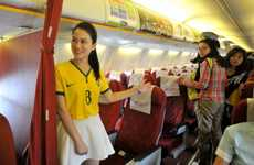 Sporty Flight Uniforms - Lucky Air Flight Attendants Wear Team Brazil Jerseys for the World Cup