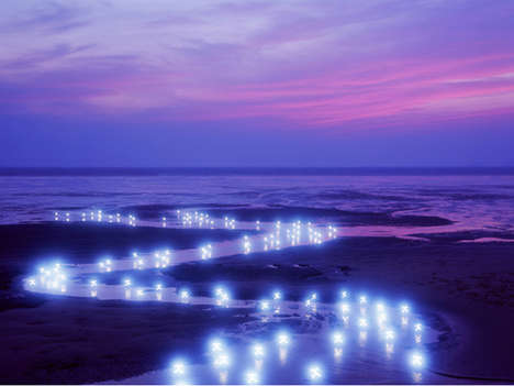 Glowing Landscape Art - In Decoding Scope Lee Jeong Lok Artistically Uses Lit Up Korean Characters