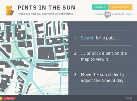 Sunny Patio Finders - Pints in the Sun Tells If an Outdoor Pub Will Be Bathed in Sun at a Given Time