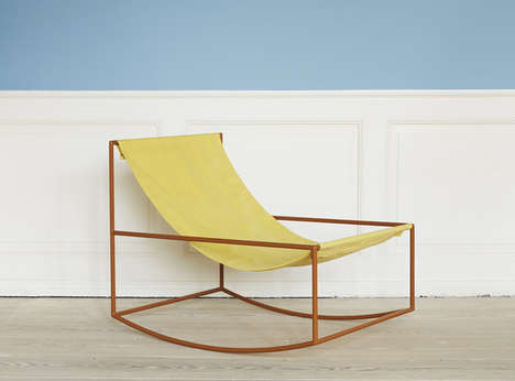Sling Back Rocking Chairs - The First Rocking Chair by Muller Van Severen is Colorful and Minimalist
