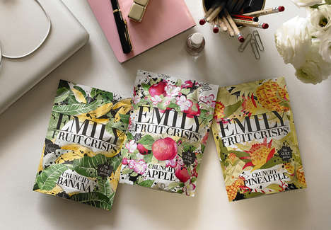 Fashionable Snack Packaging - Emily Fruit Crisps Pouches Feature High-Fashion Fruit Prints
