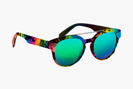 Retro Pixel Sunglasses - These Italia Independent Glasses are Designed with Hipster 8-Bit Graphics