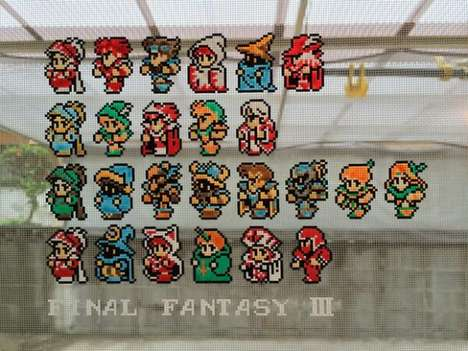 Netted Gamer Mosaics - Twitter user Jenihara Creates Final Fantasy Art On his Screen Door