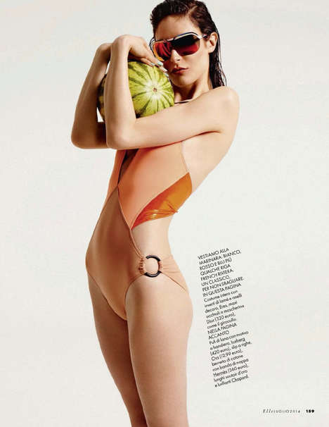 Playful Swimwear Editorials - Maud Le Fort Dons Fashionable Swimsuits for the Pages of Elle Italia