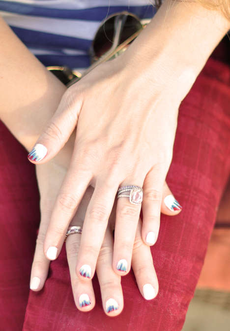 Memorial Tie-Dye Manicures - These Red, White and Blue Nails Commemorate National Independence Day